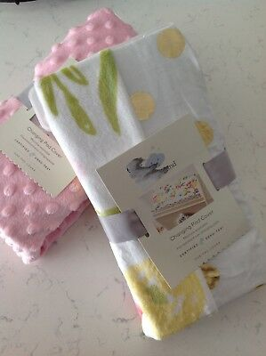 NEW Set of 2 Cloud Island Changing Pad Covers Floral Pink Polka Dot 2