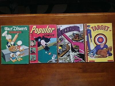 16 old-timey COMIC BOOKS 1946-1977. Target Disney Blackhawk Three Aces Popular