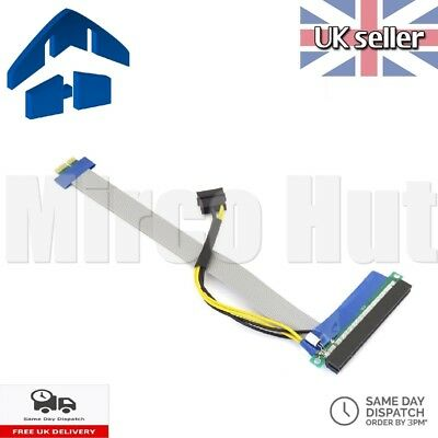 PCI-E Express 1x to 16x Extender Extension Ribbon Cable Molex - Mining Bitcoin