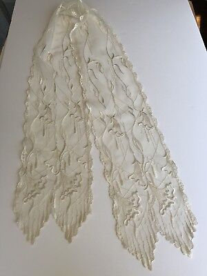 Vintage Women's Antique Embroidered Net Lace Ivory White Dress Scarf Flowers