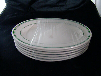 "6 Buffalo China 3 Green Stripes Platters New Unused 12 1/2"" x 8 1/2"""