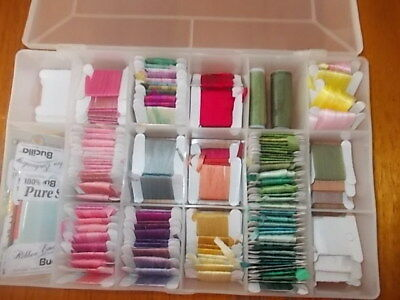 100% Pure Silk Ribbon Embroidery. Asst.  Colours On Cards, In Container. Lots Of