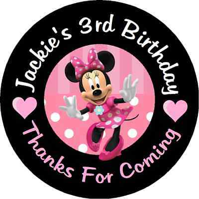 MINNIE MOUSE PINK Birthday Personalized Round Party Stickers Favors
