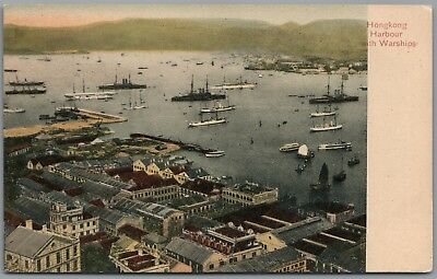 Hong Kong Harbour with Warships, Vintage Postcard