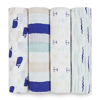 aden and anais breathable muslin 4-pack baby swaddles:high seas