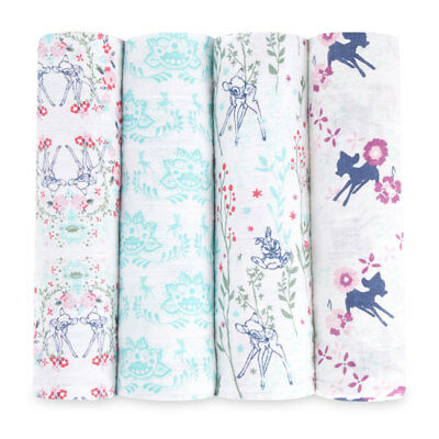 aden and anais breathable muslin 4-pack baby swaddles: disney BAMBI