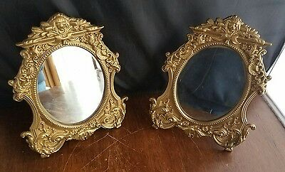 "Set of 2 Vintage Victorian Nouveau Lion Head CAST IRON Mirrors 8"" tall 6"" wide"