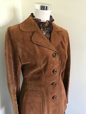 BEAUTIFUL 70s FITTED BROWN SUEDE JACKET PERFECT CONDITION MADE IN UK