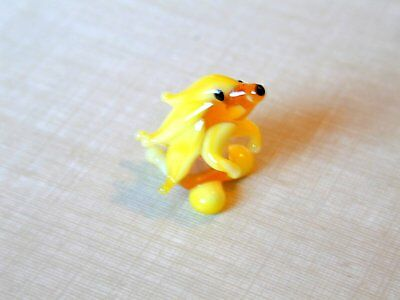 Funny Yellow Porcupine - Hand Made Art Glass Exotic  Animals miniature figurines