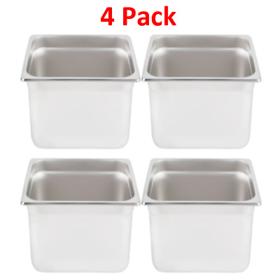 "1/2 Standard Weight  Anti-Jam Stainless Steel Steam Table Pan  6"" Deep. 4 Pack"