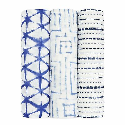 aden and anais breathable muslin 3-pack baby bamboo soft swaddles: indigo