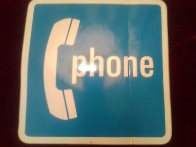 "Brand New Large 7"" x 7"" Payphone Sticker Sign ""Phone"" White on Blue (KS-20064L1)"