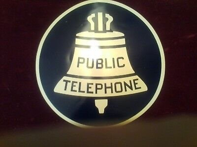 "Brand New Large 7"" Round Sticker Sign ""PUBLIC TELEPHONE"" White / Blue KS-19027L3"
