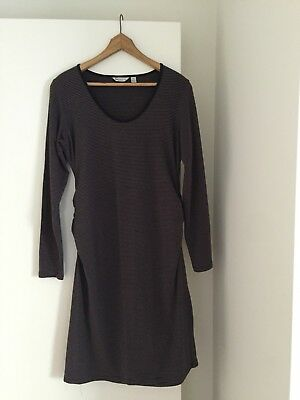 Ripe Maternity Dress Long Sleeve Brown And Black Strips Size XLGE