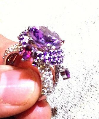 Genuine Amethyst Real White Sapphire Vintage 925 Sterling Silver Size 8 Ring