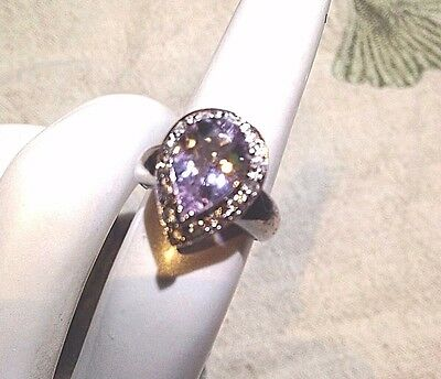 Genuine Amethyst Real White Sapphire Vintage 925 Sterling Silver Ring