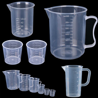 2/4Pcs Plastic Measuring Cup Jug Pour Kitchen Tools Without/With Handle 9 Sizes