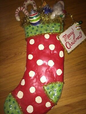 RARE Penny Mcallister Midwest Christmas Santa Stocking-NEW NEVER DISPLAYED/MINT