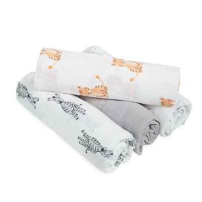 aden cotton muslin large baby super soft swaddles 4-pack.safari babes