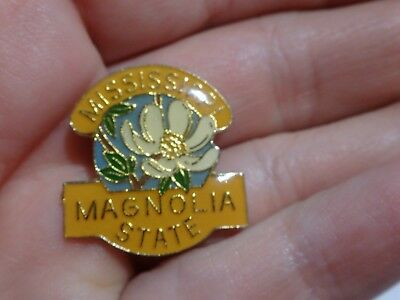 Vintage MISSISSIPPI Magnolia State Enameled PIN Souvenir PIN 1""