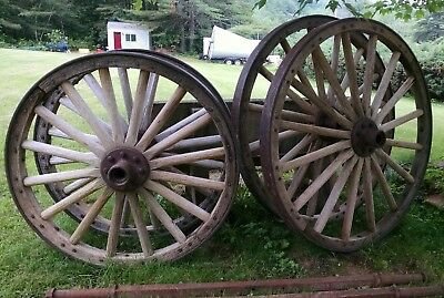 """Pair of Large 55"""" & Pair of Large 44.5""""  Antique Wagon Wheels with Axle"""