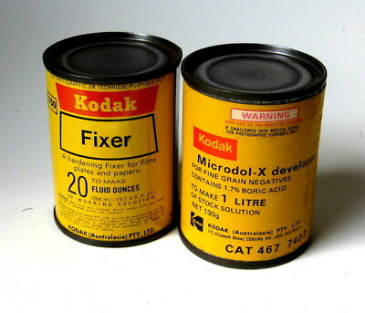 Kodak Microdol-X And Fixer In Metal Containers.
