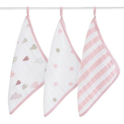 aden + anais super soft muslin baby washcloths 3-pack: heartbreaker