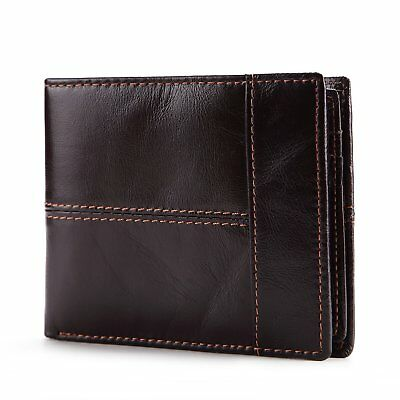 Jhua Men's Wallet Genuine Leather Multi-function Bifold Purse Credit Cards with