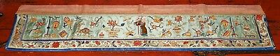 Antique Chinese 19/20th c. Silk Embroidered Banner Figure & Objects 34.3 Inch