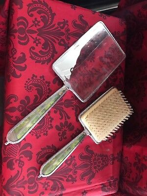 Vintage Hand Mirror And Brush Set