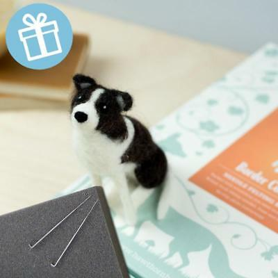 BORDER COLLIE DOG Gift boxed needle felting kit with foam mat & instructions