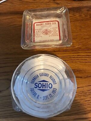 Sohio two ashtrays Middletown Ohio Quarter Century Club 1953 Standard Oil cigar
