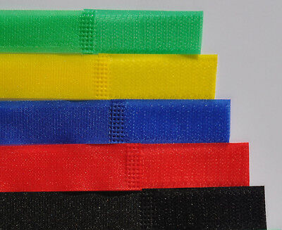 100 Pack Hook & Loop Cable Ties Cord Tidy Straps - UK Seller - Choice of Colours