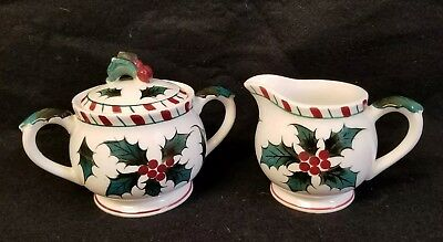 Hand Decorated Christmas Porcelain Sugar and Creamer.