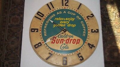 Golden Sun-Drop Cola advertising clock by Mirro products co. Coke 7 Up