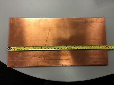 """1/8"""" Copper Sheet Plate 6"""" x 12""""  x .125 inch thick 6inx12inx.125in"""