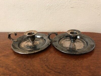 A Pair Of vintage wm a rogers oneida silverplate candlestick holders