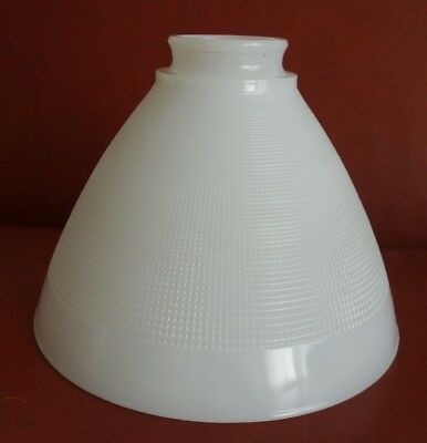 "Vtg Corning 8"" Checkered Waffle Milk Glass Torchiere Lamp Diffuser Shade 2 1/4"""
