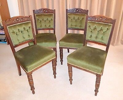 Set of 4 Antique Victorian, Button Back, Dining Chairs