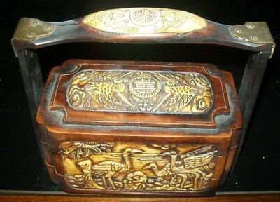 50% OFF-1800s CARVED OXEN  & WOOD THREE-DRAWER STACKED JEWELRY/TRINKET BOX