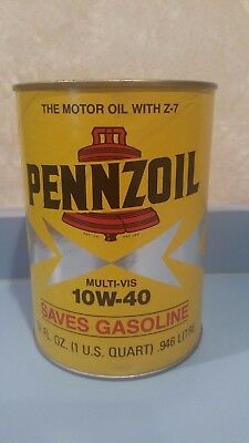 PENNZOIL Quart 10W-40 Motor Oil Paper Can Stock No. 3651 VINTAGE 1970s UNOPENED
