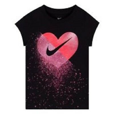 Nike Short Sleeved Girls Shirt Size 2T, 3T, 4T, Black, Pink $18 26C505-023 (GB)