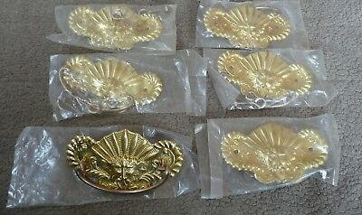 6 Vintage Brass Drawer Pulls. Face Of Greek Wind God