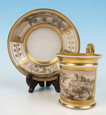 Antique Russian or French Porcelain Scenic Cup & Saucer Old Gold Vieux Imperial