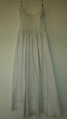 Vintage Handmade Victorian Christening Gown - White Ayrshire Embroidered Work