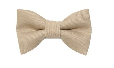 New Boys Khaki Brushed Denim Clip-On Cotton Bow Tie Clip On Bow Tie Youth Bowtie
