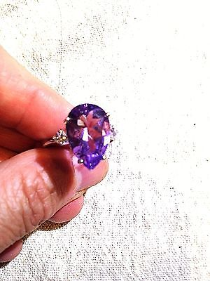 Genuine Amethyst Real White Sapphire Vintage 925 Sterling Silver Cocktail Ring