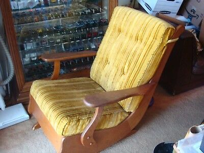 1 Vintage Rocking Chair, Re-Upholstered, Stripped Velour Gold And Brown