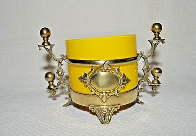 1930's Vintage Continental Europe Yellow Cut Glass Bowl Mounted in Bronze Frame
