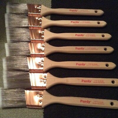 "Lot 1 1/2"" XL Glide  - 7 Angled Purdy Paint Brushes - New never used"